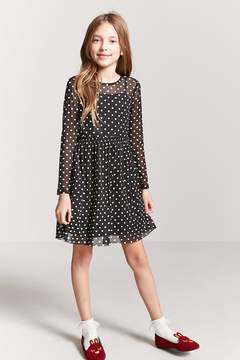 Forever 21 Girls Sheer Mesh Polka Dot Dress (Kids)