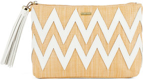 Melissa Odabash Crete woven raffia and leather clutch bag
