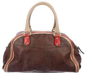 Etro Leather-Trimmed Paisley Handle Bag
