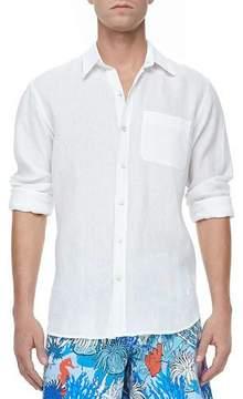 Vilebrequin Linen Long-Sleeve Shirt, White