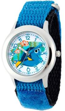 Disney Finding Dory, Nemo, Marlin, and Dory Boys' Stainless Steel Time Teacher Watch, Blue Hook and Loop Nylon Strap with Black Backing