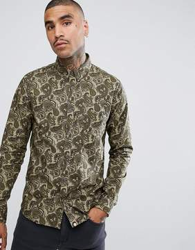 Pretty Green Ryder Paisley Long Sleeve Shirt In Green