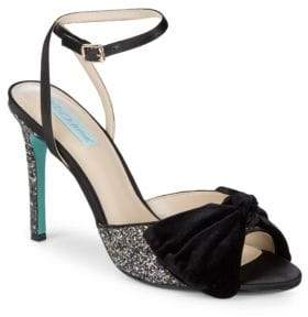 Betsey Johnson Jilly Bow-Front Glitter Stiletto Sandals