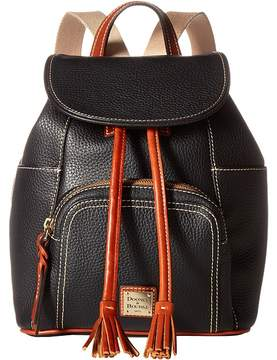 Dooney & Bourke Pebble Medium Murphy Backpack Backpack Bags - BLACK/TAN TRIM - STYLE