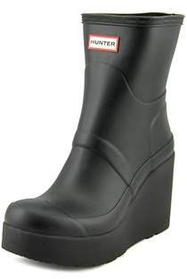 Hunter Short Mid Wedge Women Round Toe Synthetic Rain Boot.