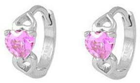 Ice Baby Silver Heart Huggie Hoop Earrings For Girls