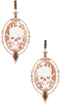 Artisan Women's 18K Rose Gold & 3.05 Total Ct. Diamond Skull Cameo Earrings