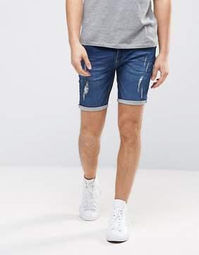 Brave Soul Jersey Denim Ripped Shorts