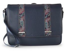 Robert Graham Colonna Paisley Trim Leather Messenger Bag