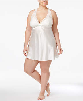 Flora Nikrooz Flora by Plus Size Emma Lace-Trimmed Charmeuse Chemise