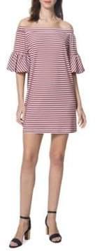 Donna Morgan Striped Off-the-Shoulder Dress