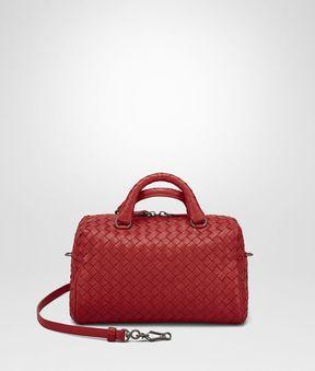 Bottega Veneta China Red Intrecciato Nappa Top Handle Bag