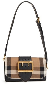 Burberry Small Buckle House Check & Leather Convertible Clutch - Black - BLACK - STYLE