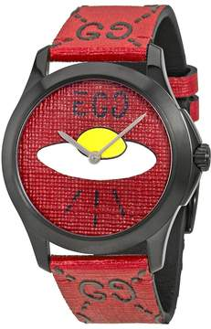 Gucci Ghost G-Timeless Red with UFO Motif Dial Men's Rubber Watch