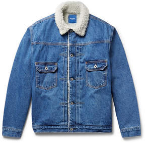 Beams Faux Shearling-Lined Denim Jacket