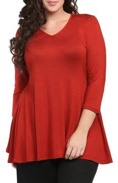 24/7 Comfort Apparel Women's Plus Size 3/4 Sleeve V-neck Tunic