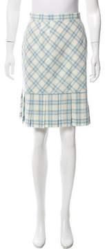Courreges Pleated Plaid Skirt