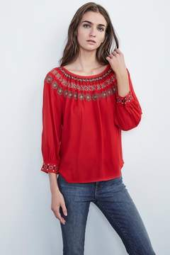Velvet by Graham & Spencer EVA EMBROIDERED PEASANT TOP