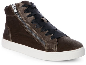 Madden-Girl Taupe Eppic Velvet High Top Sneakers