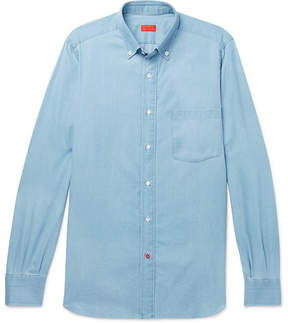 Isaia Slim-Fit Button-Down Collar Cotton-Chambray Shirt