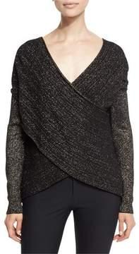 Derek Lam 10 Crosby Cross-Front Metallic Wool-Blend Sweater, Black/Gold