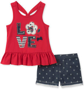 Kids Headquarters 2-Pc. Love Tank Top & Shorts Set, Little Girls