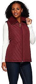 Denim & Co. As Is Quilted Vest with Faux Sherpa Lining