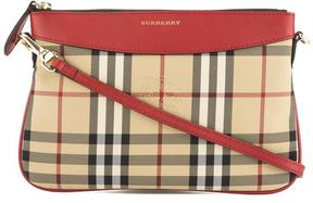 Burberry Parade Red Leather and Horseferry Check Clutch Bag - ONE COLOR - STYLE