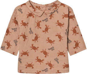 Bobo Choses Muted Pink Crab Your Hands Button Blouse