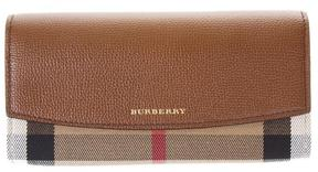 Burberry Leather & Check House Fabric Continental Wallet - TAN - STYLE