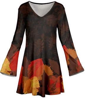 Azalea Orange & Brown Leaves Flare-Sleeve Tunic - Women