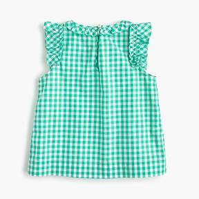 J.Crew Girls' ruffle-trimmed top in gingham
