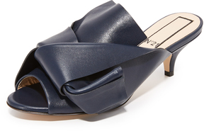 No.21 No. 21 Kitten Slides with Bow in Leather