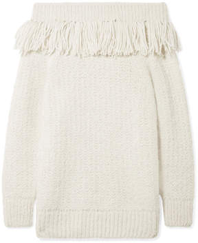 Eleven Paris Six Bailey Fringed Off-The-Shoulder Alpaca-Blend Sweater