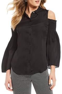 Isaac Mizrahi Imnyc IMNYC Cold Shoulder Smocked Sleeve Button Front Shirt