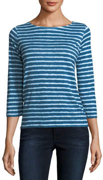 Neiman Marcus Majestic Paris for Button-Back Dyed Striped Linen 3/4-Sleeve Top