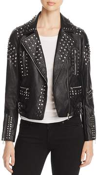 Aqua Studded Faux-Leather Moto Jacket - 100% Exclusive