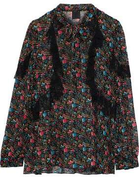 Anna Sui Ruffled Lace-Trimmed Printed Silk-Chiffon Blouse