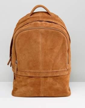 Asos Backpack In Suede In Tan