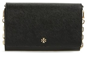 Tory Burch Women's 'Robinson' Leather Wallet On A Chain - Black