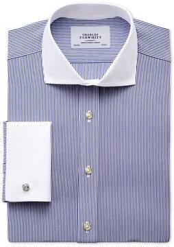 Charles Tyrwhitt Extra Slim Fit Spread Collar Non-Iron Winchester Bengal Stripe Navy Cotton Dress Shirt Single Cuff Size 15.5/33