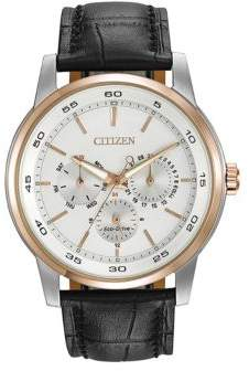 Citizen Mens Eco-Drive Dress Watch with Black Leather Strap