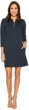 Donna Morgan 3/4 Sleeve Novelty Knit Shift w/ Front Zip Hardware Detail Women's Dress