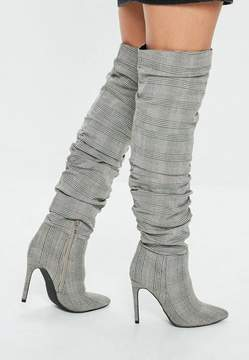 Missguided Gray Ruched Plaid Print Pointed Boots