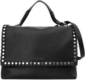 Orciani Black Leather Kate Medium Bag.