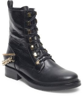 Lanvin Chain-Accented Leather Boots