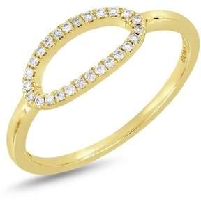 Bony Levy 18K Yellow Gold Diamond Detail Open Oval Ring - 0.10 ctw