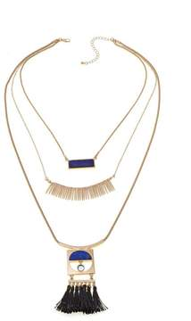 Danielle Nicole Wilderness Simulated Lapis Goldtone Triple-Layer Necklace