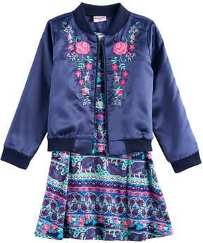 Nannette Girls 4-6x Embroidered Bomber Jacket & Printed Skater Dress Set