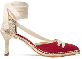 Castaner Manolo Blahnik By Day Canvas And Raffia Pumps - Red